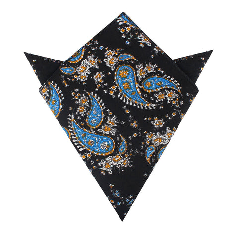 Venetian Lagoon Blue Paisley Pocket Square