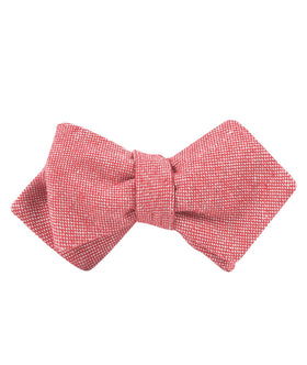 Venetian Red Linen Diamond Self Bow Tie