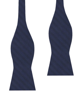 Venice Navy Blue Striped Self Bow Tie