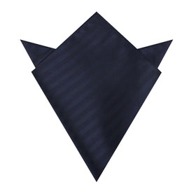 Venice Navy Blue Striped Pocket Square