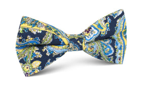 Vivara Yellow on Blue Paisley Bow Tie
