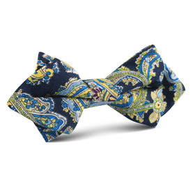 Vivara Yellow on Blue Paisley Diamond Bow Tie