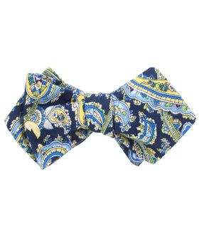 Vivara Yellow on Blue Paisley Diamond Self Bow Tie