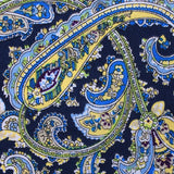 Vivara Yellow on Blue Paisley Fabric Pocket Square