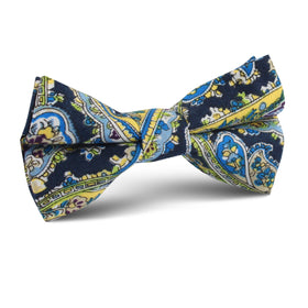 Vivara Yellow on Blue Paisley Kids Bow Tie
