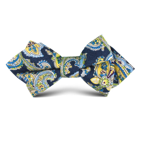 Vivara Yellow on Blue Paisley Kids Diamond Bow Tie