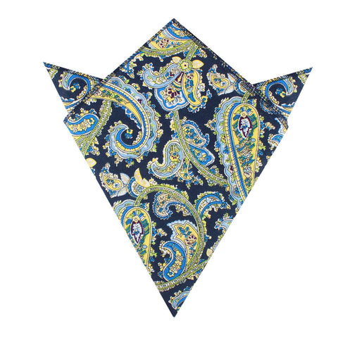 Vivara Yellow on Blue Paisley Pocket Square