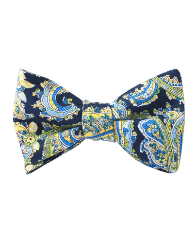 Vivara Yellow on Blue Paisley Self Bow Tie