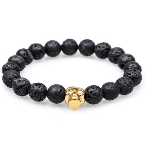 Volcanic Rock Burnished Gold Skull Bracelet