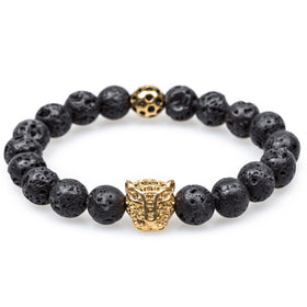 Volcanic Rock Warrior Gold Panther Bracelet