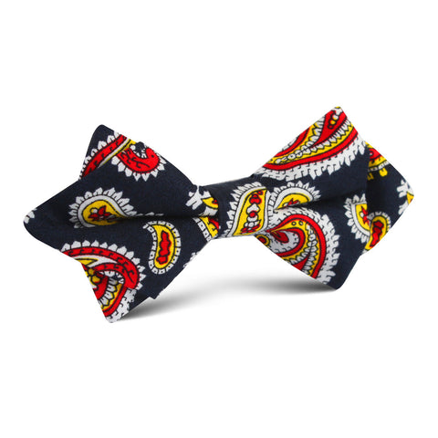 Vulcano Red & Yellow Paisley Diamond Bow Tie