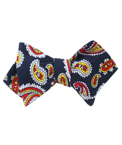 Vulcano Red & Yellow Paisley Diamond Self Bow Tie