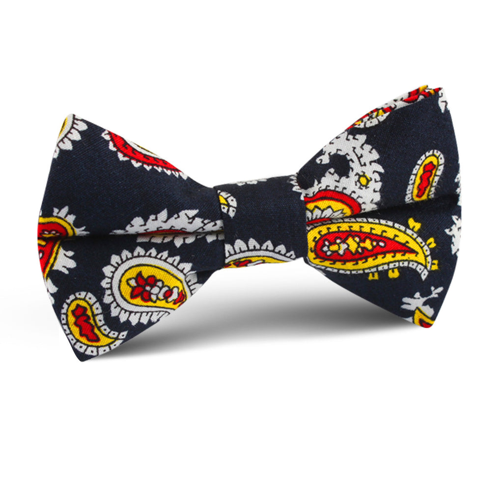 Vulcano Red & Yellow Paisley Kids Bow Tie