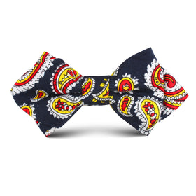 Vulcano Red & Yellow Paisley Kids Diamond Bow Tie