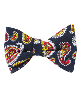 Vulcano Red & Yellow Paisley Self Bow Tie