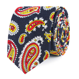 Vulcano Red & Yellow Paisley Skinny Tie