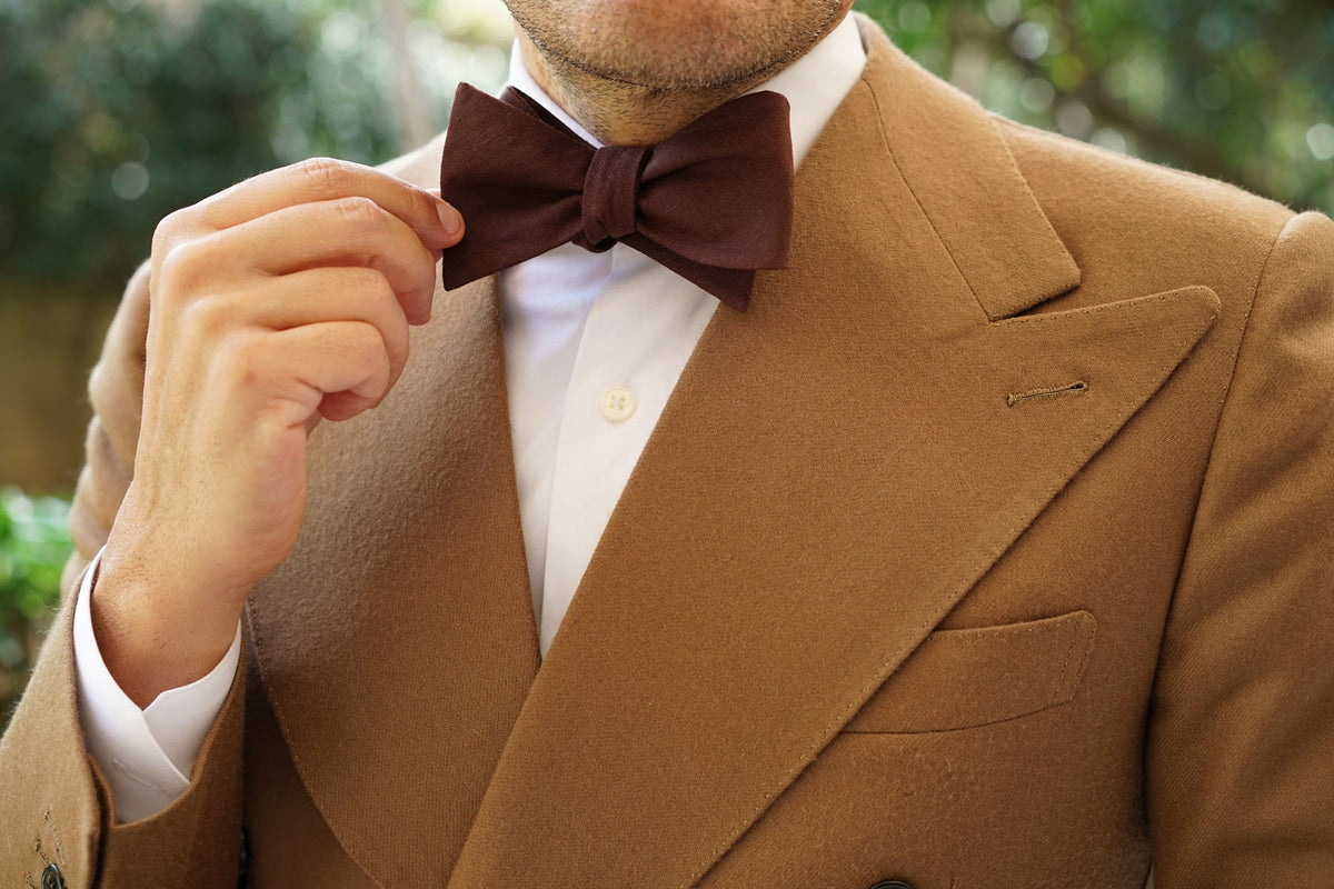 Walnut Brown Slub Linen Self Bow Tie