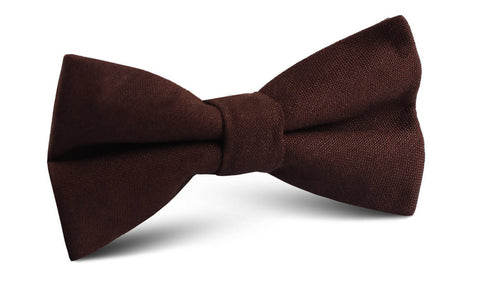 Walnut Brown Slub Linen Bow Tie