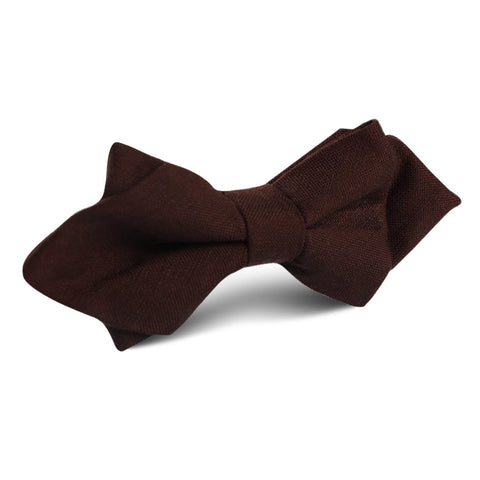 Walnut Brown Slub Linen Diamond Bow Tie