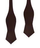 Walnut Brown Slub Linen Diamond Self Bow Tie