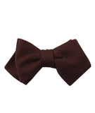 Walnut Brown Slub Linen Diamond Self Bowtie