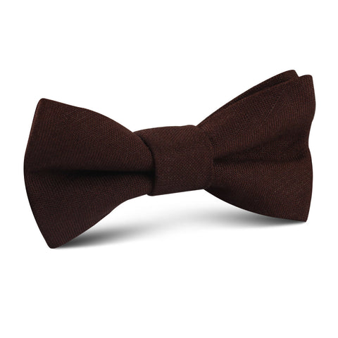 Walnut Brown Slub Linen Kids Bow Tie