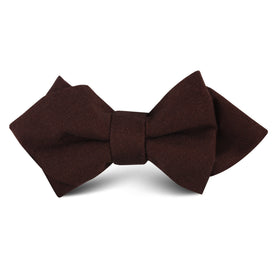 Walnut Brown Slub Linen Kids Diamond Bow Tie