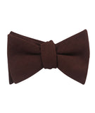 Walnut Brown Slub Linen Self Tied Bowtie