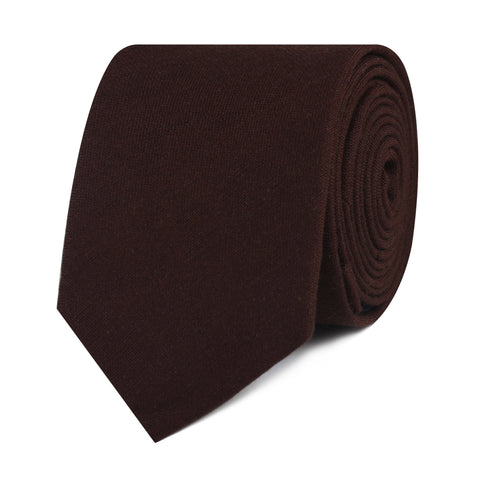 Walnut Brown Slub Linen Skinny Tie