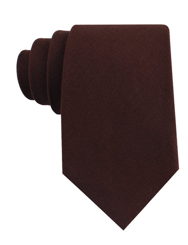 Walnut Brown Slub Linen Tie