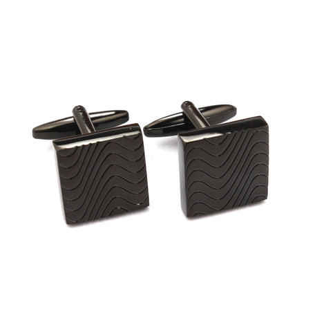 Black Square Wave Cufflinks