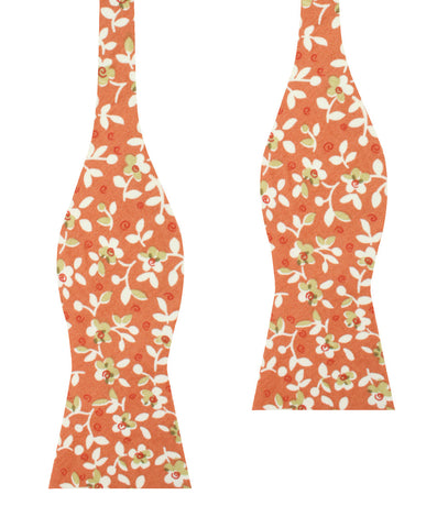 White Orchid Dusty Orange Floral Self Bow Tie
