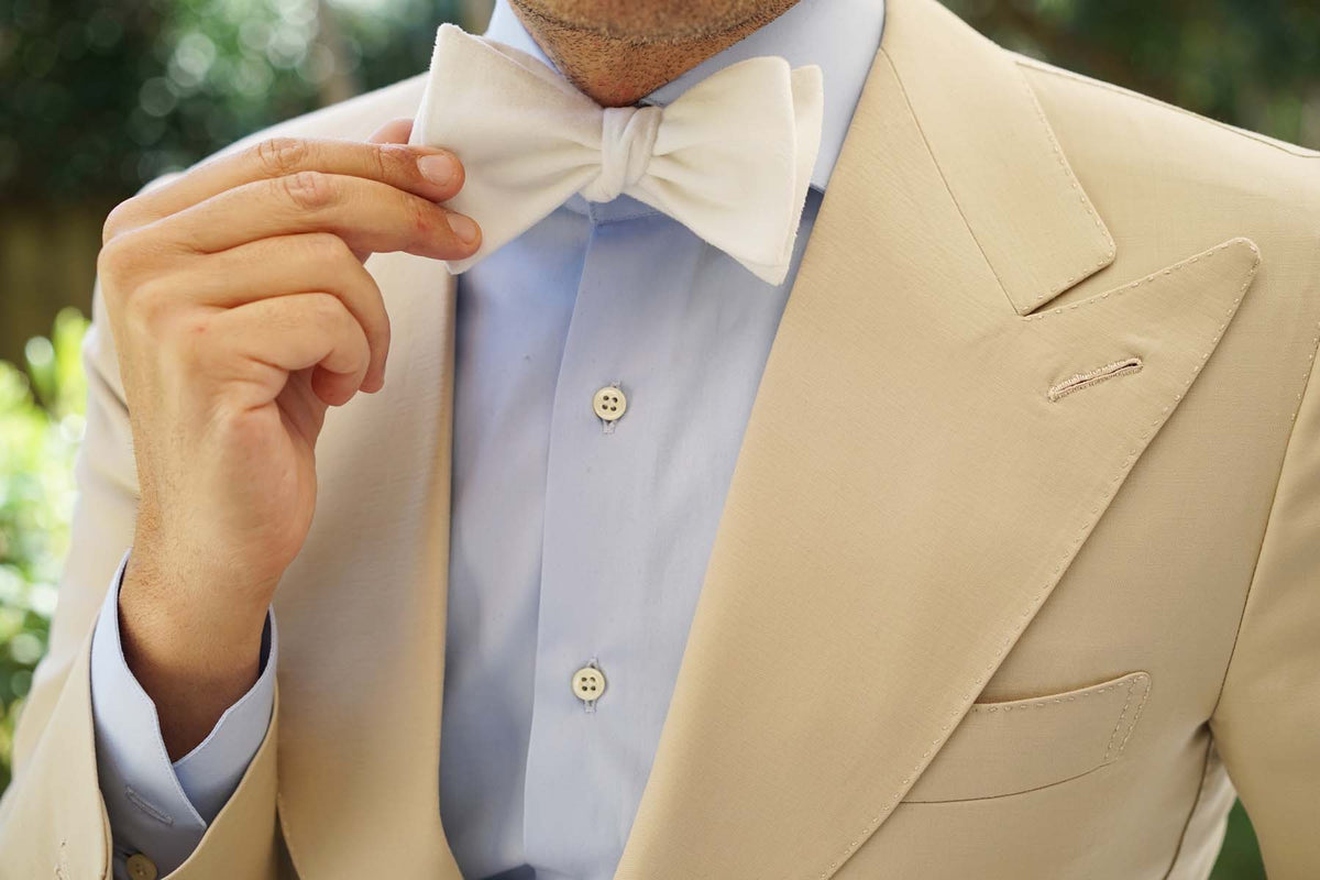 White Velvet Self Bow Tie
