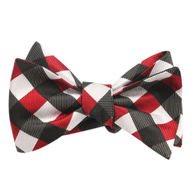 White Black Maroon Checkered Bow Tie Untied