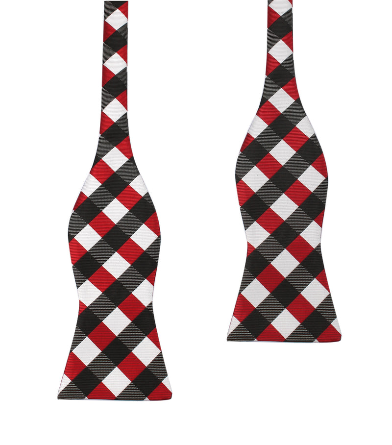 Grey /& White Check Bow Tie Red Black