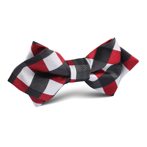 White Black Maroon Checkered Diamond Bow Tie