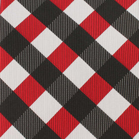 White Black Maroon Checkered Kids Bow Tie