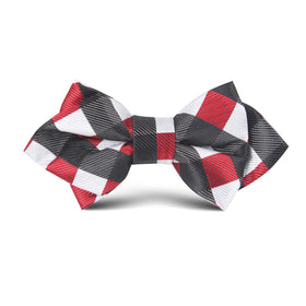 White Black Maroon Checkered Kids Diamond Bow Tie