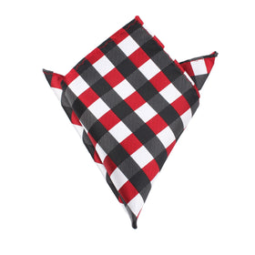 White Black Maroon Checkered Pocket Square