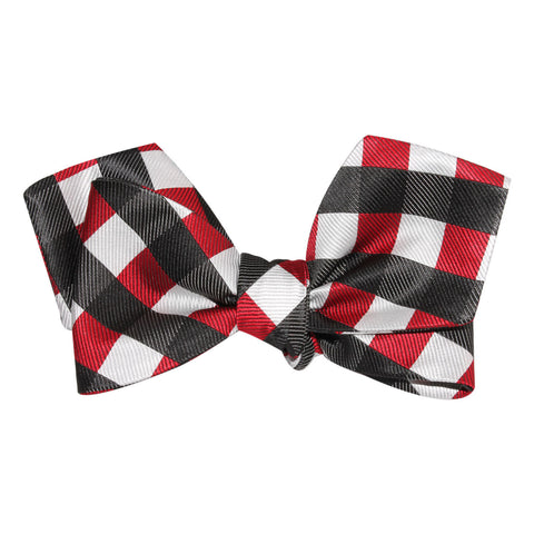 White Black Maroon Checkered Self Tie Diamond Tip Bow Tie