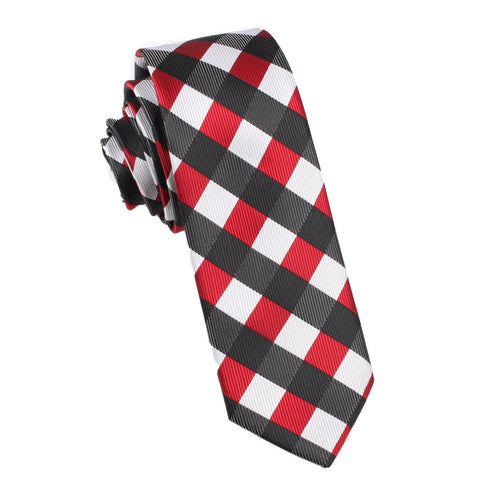 White Black Maroon Checkered Skinny Tie