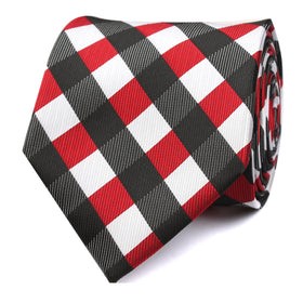 White Black Maroon Checkered Tie