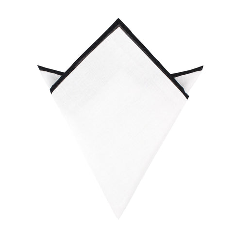 White Cotton Pocket Square with Black Border