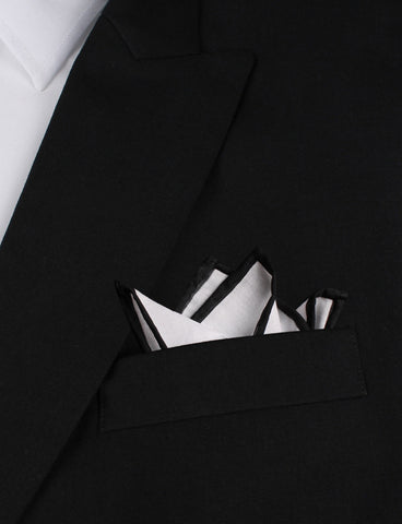 White Cotton Pocket Square with Black Border 05-WCPS