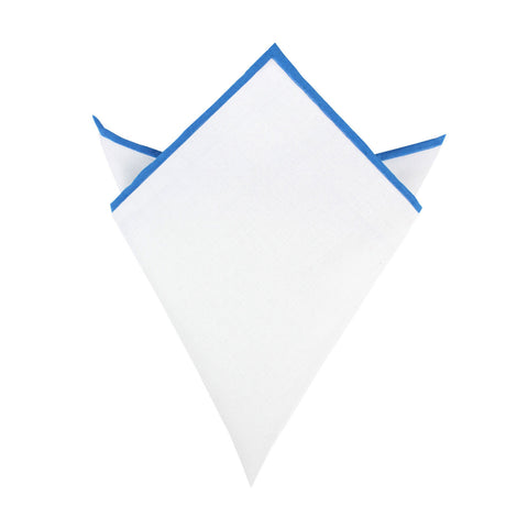 White Cotton Pocket Square with Blue Border 07-WCPS