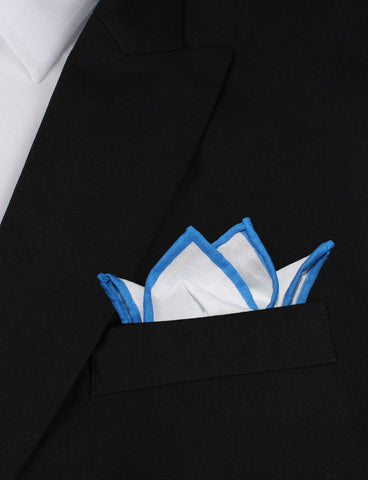White Cotton Pocket Square with Blue Border