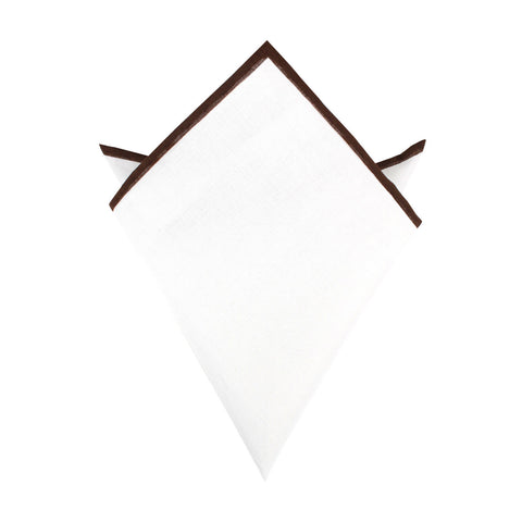 White Cotton Pocket Square with Brown Border 06-WCPS