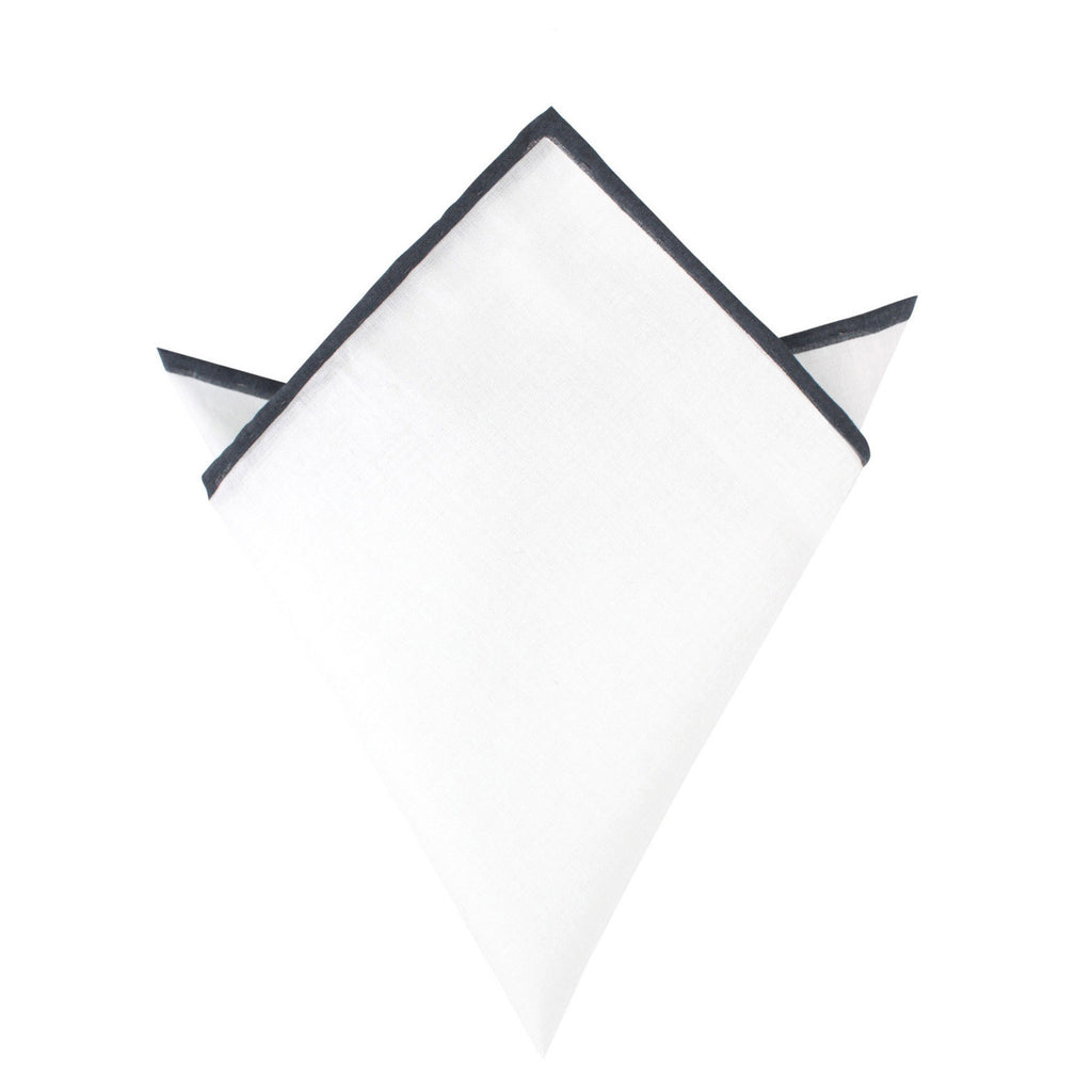 White Cotton Pocket Square with Charcoal Grey Border