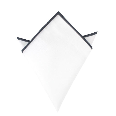 White Cotton Pocket Square with Charcoal Grey Border 08-WCPS