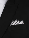 White Cotton Pocket Square with Charcoal Grey Border Point Fold